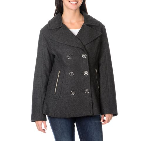 Excelled Ladies Wool Fashion Peacoat with Silver Accented Zipper Pockets