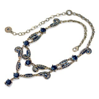 Sweet Romance Art Deco Vintage Hollywood Blue Crystal Necklace