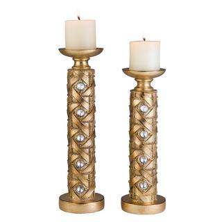 14-inch/ 16-inch Gold Mahla Candleholders (Set of 2)