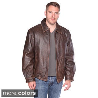 Wilda Men's 'Norton' Leather Bomber Jacket - Free Shipping Today ...