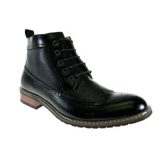 Ferro Aldo Men's Black Wing Tipped Lace-up Mid-calf Boots