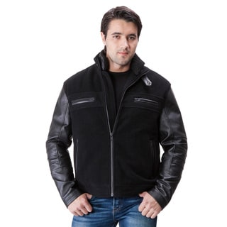United Face Men's Wool and Leather Sleeve Stand Collar Moto Jacket
