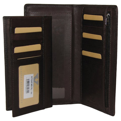All-in-1 Genuine Leather Wallet/ Card Case Holder/ Removable Checkbook/ Register Pocket Secretary - Large