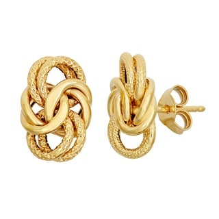Gioelli 14k Yellow Gold Byzantine Knot Earrings