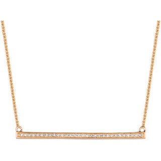 14k Rose Gold 0.134ct Diamond Trapeze Bar Necklace (G-H, I1)