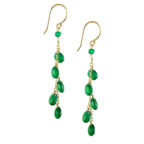 14k Yellow Gold Faceted Heart Green Agate Dangle Earrings