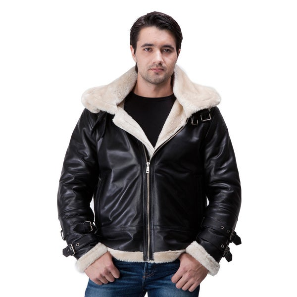 United Face Mens Hooded Leather Aviator Jacket Lambskin B-3 Bomber ...