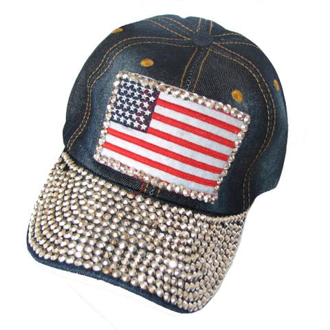 Dark Denim and Rhinestone USA Flag Baseball Cap Size - Large