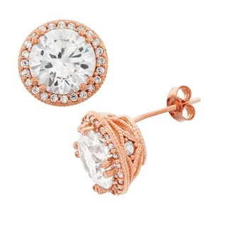 Gioelli 10k Rose Gold Round-cut Cubic Zirconia Large Designer Stud Earrings