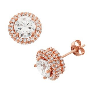 Gioelli 10k Rose Gold Round-Cut CZ Infinite Stone Pave Stud Earrings