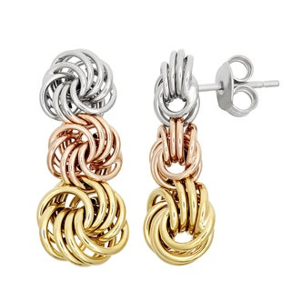 Gioelli Sterling Silver Tri-Color Rosetta Earrings