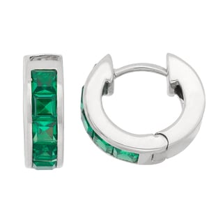 Gioelli Sterling Silver Princess-Cut Created Emerald endless Earrings