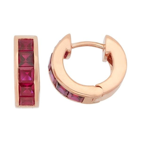 Gioelli Rose Goldplated Sterling Silver Princess-cut Created Ruby or Amethyst Hoop Earrings. Opens flyout.