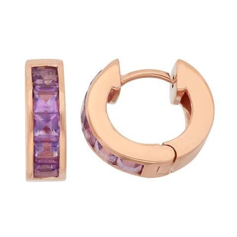 Gioelli Rose Goldplated Sterling Silver Princess-cut Created Ruby or Amethyst Hoop Earrings