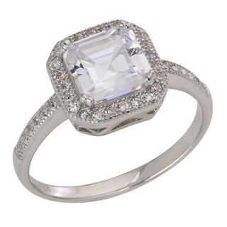 Gioelli Sterling Silver Asscher-cut Cubic Zirconia Ring