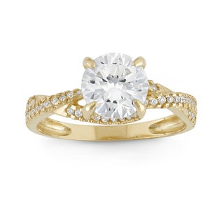 Gioelli 10k Yellow Gold Round Cubic Zirconia Ring
