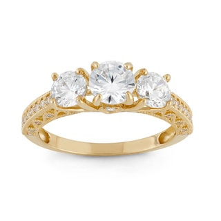 Gioelli 10k Yellow Gold Round Cubic Zirconia Stylish Designer Ring