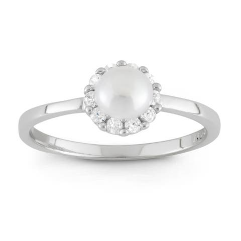 Junior Jewels Sterling Silver Round Cubic Zirconia and Pearl Flower Ring (4-5 mm)