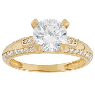 Gioelli 10k Yellow Gold Round Cubic Zirconia Designer Ring