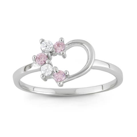 Junior Jewels Sterling Silver Cubic Zirconia Heart Ring Size - 3