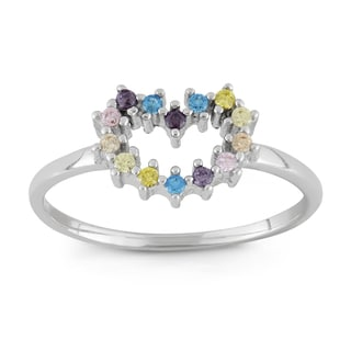 Junior Jewels Sterling Silver Multi-color Cubic Zirconia Heart Ring