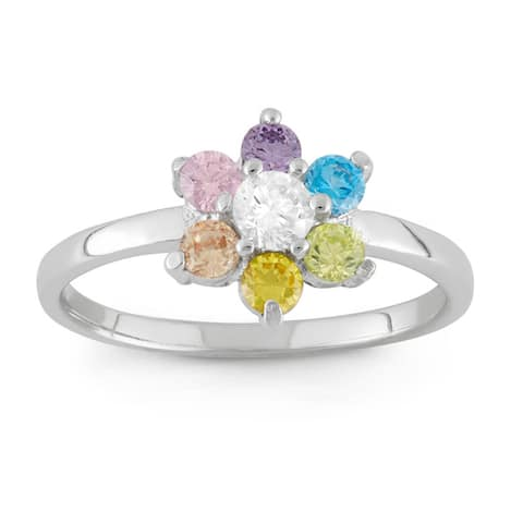 Junior Jewels Sterling Silver Multi - colored Cubic Zirconia Flower Ring Size - 3