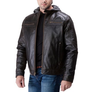 United Face Men's Genuine Leather Moto Jacket with Hoodie