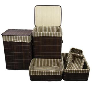 Square Folding Bamboo Laundry Basket and Trays (Set of 6)