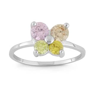 Junior Jewels Sterling Silver Multi-color Cubic Zirconia Butterfly Ring|https://ak1.ostkcdn.com/images/products/9561649/P16742938.jpg?impolicy=medium