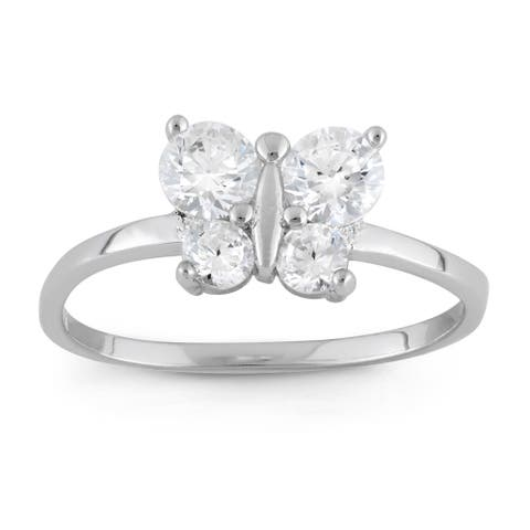 Junior Jewels Sterling Silver Cubic Zirconia Butterfly Ring Size - 3