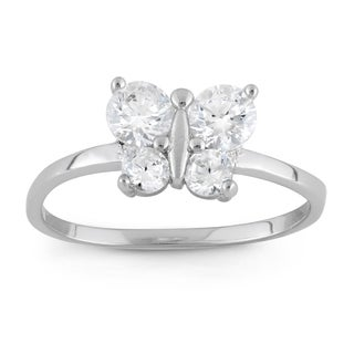 Junior Jewels Sterling Silver Cubic Zirconia Butterfly Ring