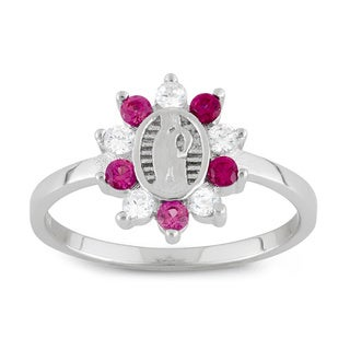 Junior Jewels Sterling Silver Red & White Cubic Zirconia Designer Guadalupe Ring