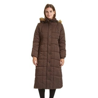 Link to EXcelled Ladies Full Length Quilted City Coat with Attached Faux Fur Trim Hood Similar Items in Women's Outerwear
