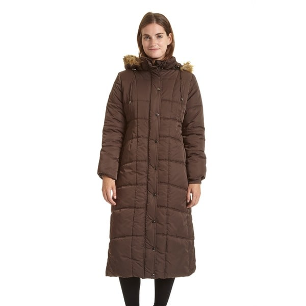 EXcelled Ladies Full Length Quilted City Coat with Attached Faux Fur Trim Hood. Opens flyout.