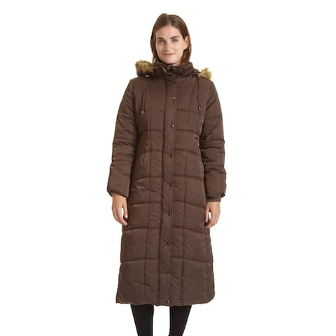 EXcelled Ladies Full Length Quilted City Coat with Attached Faux Fur Trim Hood