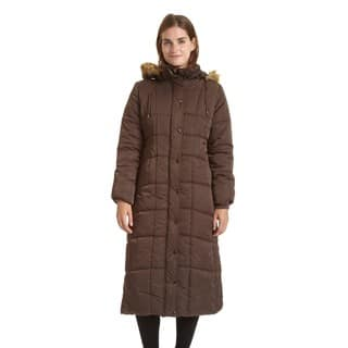 EXcelled Ladies Full Length Quilted City Coat with Attached Faux Fur Trim Hood|https://ak1.ostkcdn.com/images/products/9561665/P16742950.jpg?impolicy=medium