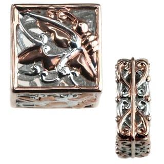 Michael Valitutti Palladium Silver Gold Embrace Charm Set