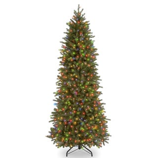 7.5-foot Feel Real Jersey Pencil Slim Fir Hinged Tree with 650 Multi Lights