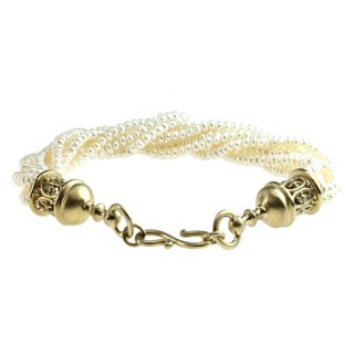 Michael Valitutti Gold Over Silver Pearl Bead Bracelet (3 mm)