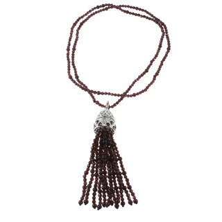 Dallas Prince Garnet And Marcasite Tassel Necklace