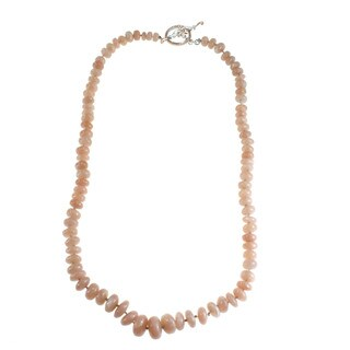 Michael Valitutti Peach Moonstone Knotted Necklace with Toggle