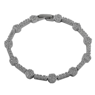 Luxiro Sterling Silver Cubic Zirconia Floral Link Tennis Bracelet