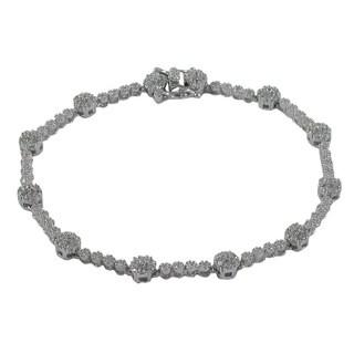 Luxiro Sterling Silver Cubic Zirconia Flower Link Tennis Bracelet