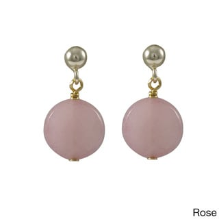 Luxiro Sterling Silver Children's Jade Faceted Coin Stone Earrings