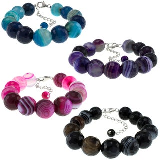 Pearlz Ocean Banded Agate Faceted Bead Bracelet