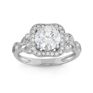 Gioelli 10k White Gold Round-cut Cubic Zirconia Elegant Designer Ring