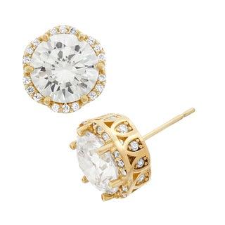 Gioelli 10k Yellow Gold Elegant Round Cut Cubic Zirconia Stud Earring