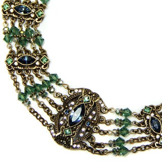 Sweet Romance Sapphire Blue and Tourmaline Green Victorian Statement Necklace