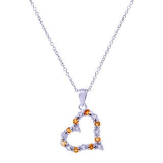 Sterling Silver Citrine Diamond Accent Open Heart Cable Necklace