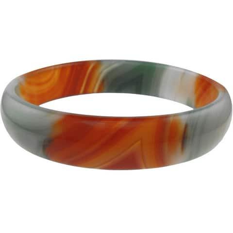 """Multi-Color Green Orange Gray Agate Bangle 7.85"""""""